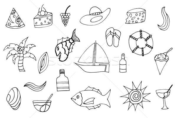 été monochrome main poissons Photo stock © frescomovie