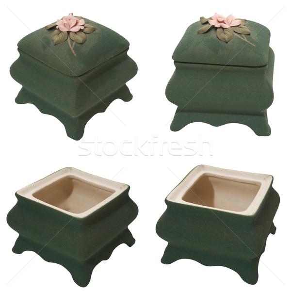 Porselein container ingesteld klein ingericht Stockfoto © frescomovie