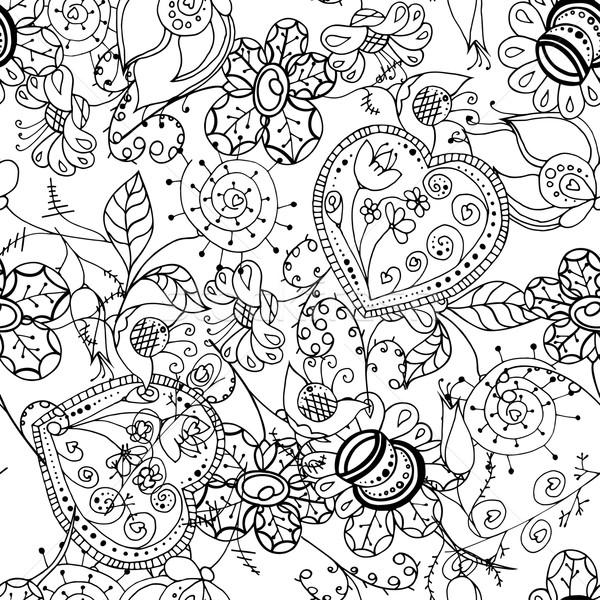 ストックフォト: フローラル · パターン · シームレス · 抽象的な · 花 · デザイン