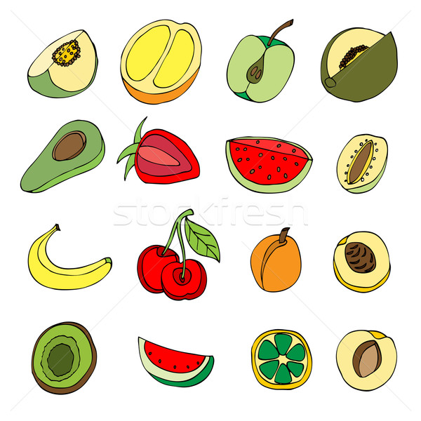 Beaucoup fruits doodle style alimentaire main Photo stock © frescomovie