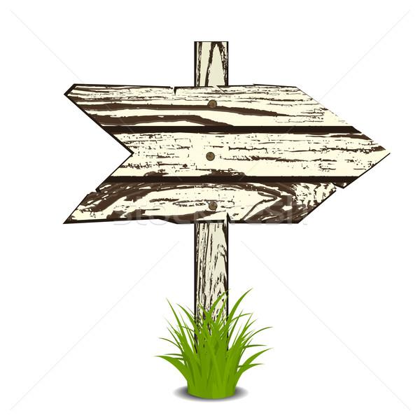 Holz Zeichen Gras isoliert weiß Illustration Stock foto © frescomovie