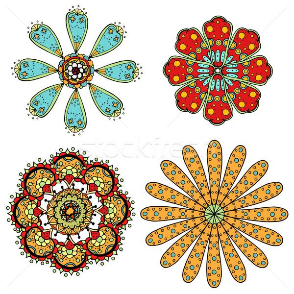 Monocromático rabisco flores conjunto abstrato Foto stock © frescomovie