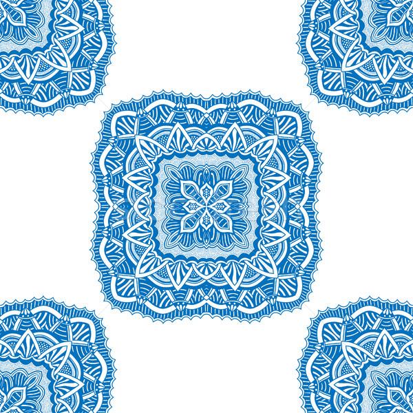 シームレス フローラル パターン 青 ストックフォト © frescomovie