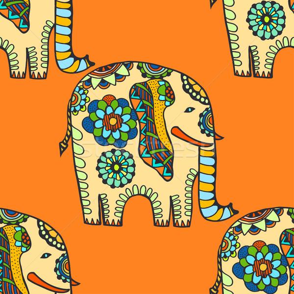 Hand Drawn Ethnic Elephant Stock photo © frescomovie