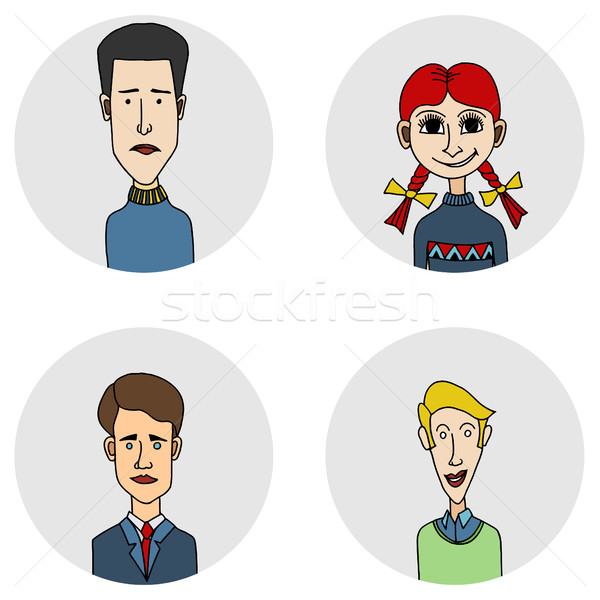 Sketch people icons Stock photo © frescomovie