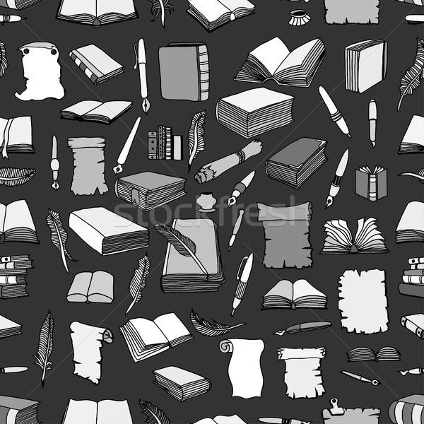 Stockfoto: Patroon · groot · ingesteld · boeken · naadloos