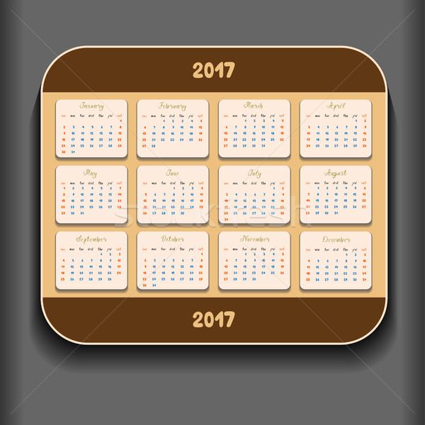 Simple 2017 year calendar Stock photo © frescomovie