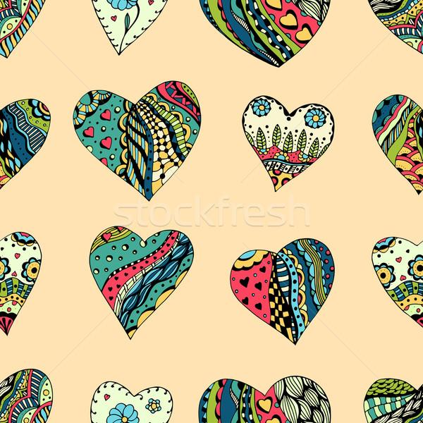 pattern of zentangle hearts Stock photo © frescomovie