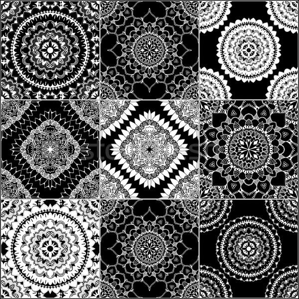Preto e branco geométrico azulejos conjunto vetor Foto stock © frescomovie