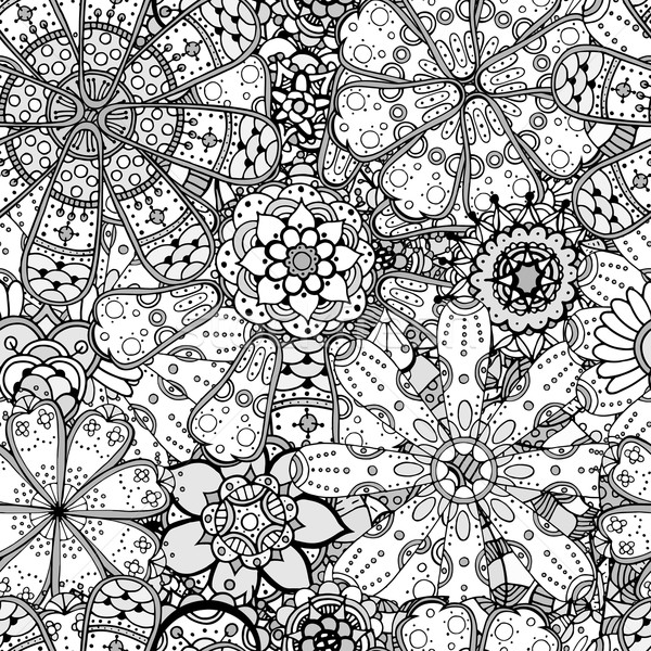 Naadloos contour patroon monochroom Stockfoto © frescomovie