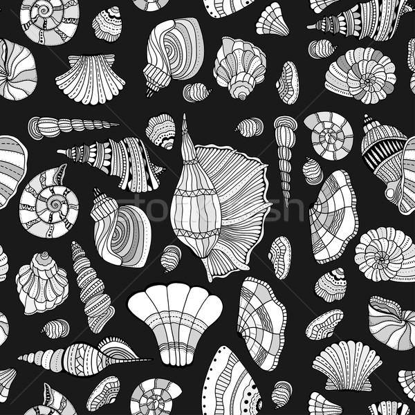 Kagyló végtelen minta stilizált tenger kézzel rajzolt vízi Stock fotó © frescomovie
