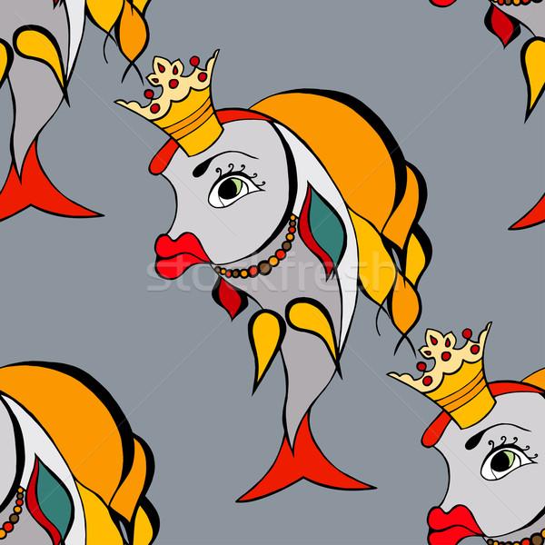 Goldfish корона бесшовный воды рыбы счастливым Сток-фото © frescomovie