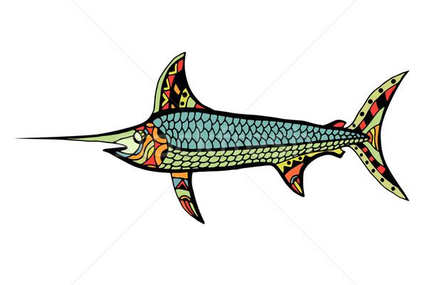 Peixe estilizado rabisco isolado branco Foto stock © frescomovie