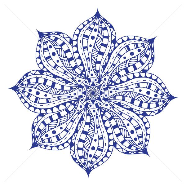 синий мандала этнических декоративный Элементы рисованной Сток-фото © frescomovie