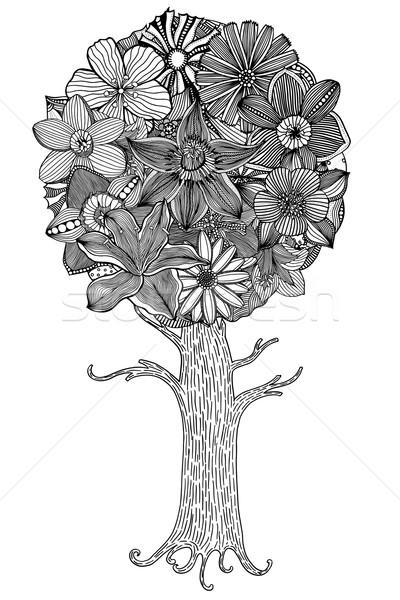 árbol Hojas Flores Vector Libro Para Colorear