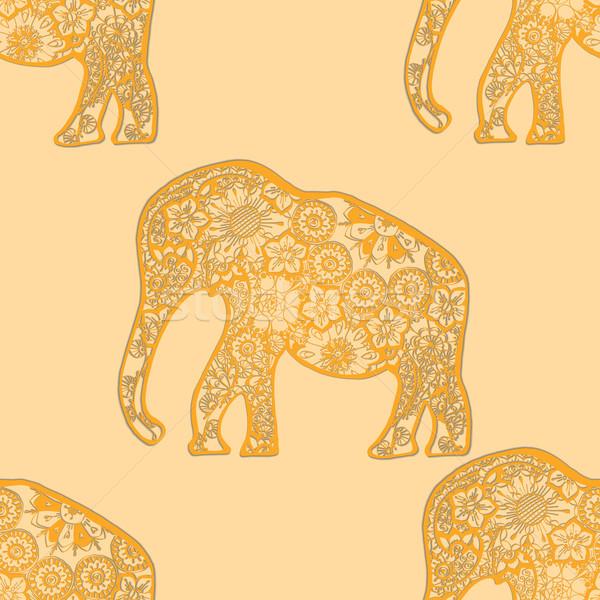Stock fotó: Elefántok · indiai · stílus · végtelenített · textúra · stilizált