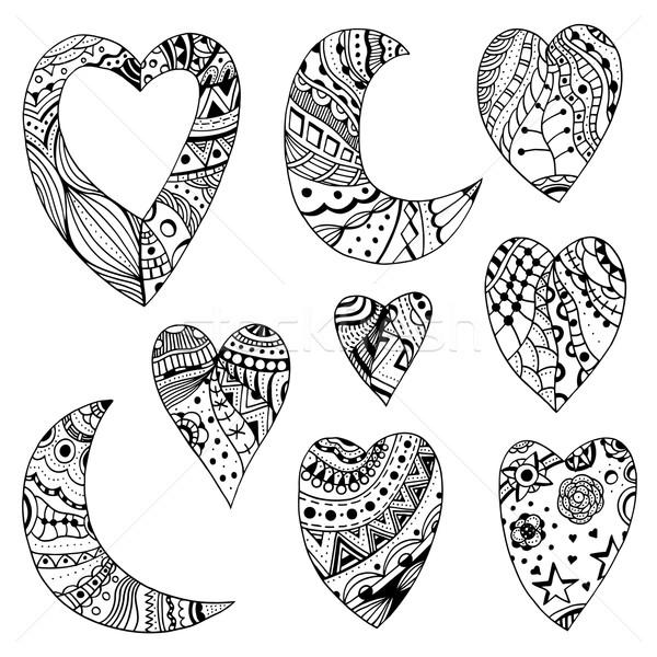 сердцах полумесяц набор вектора рисованной болван Сток-фото © frescomovie