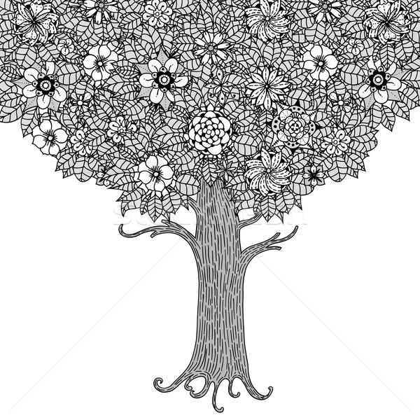 Ağaç Yaprakları çiçekler Vektör Boyama Kitabı Sayfa