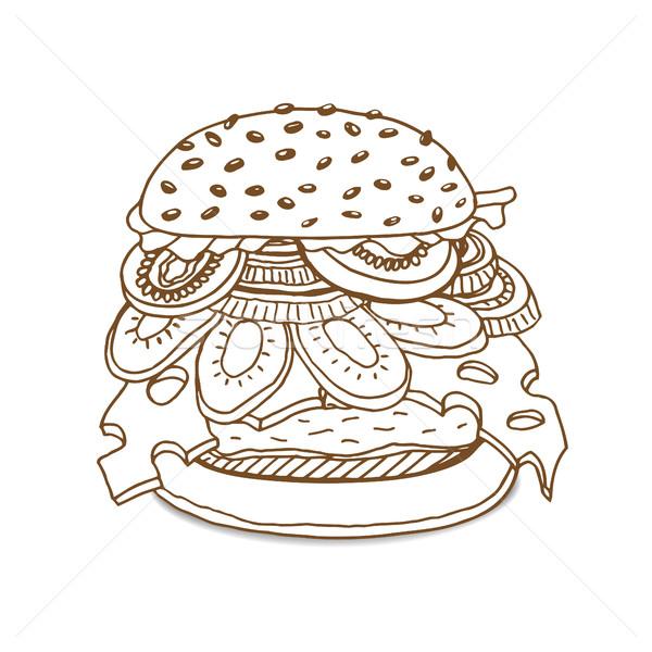 Hamburger sandwich schets stijl oude Stockfoto © frescomovie