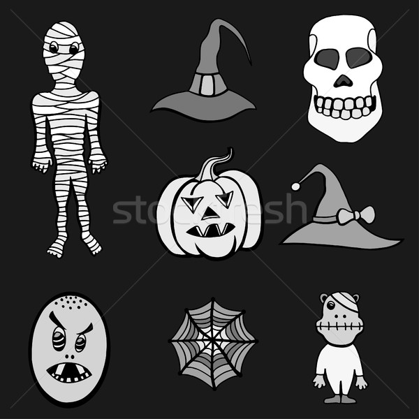 Stockfoto: Ingesteld · halloween · monochroom · monsters · hoeden · zwart · wit