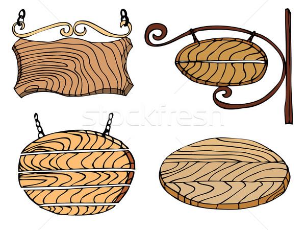 набор текстуры древесины кадр знак Сток-фото © frescomovie