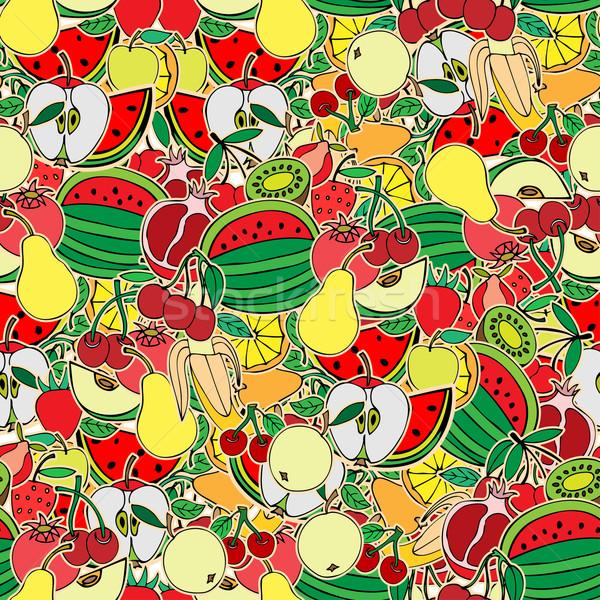 Frutas sem costura legumes fruto vetor maçã Foto stock © frescomovie