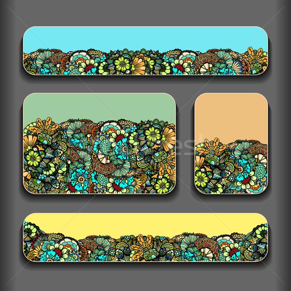 Modello di fiore carte set fiore abstract pattern Foto d'archivio © frescomovie
