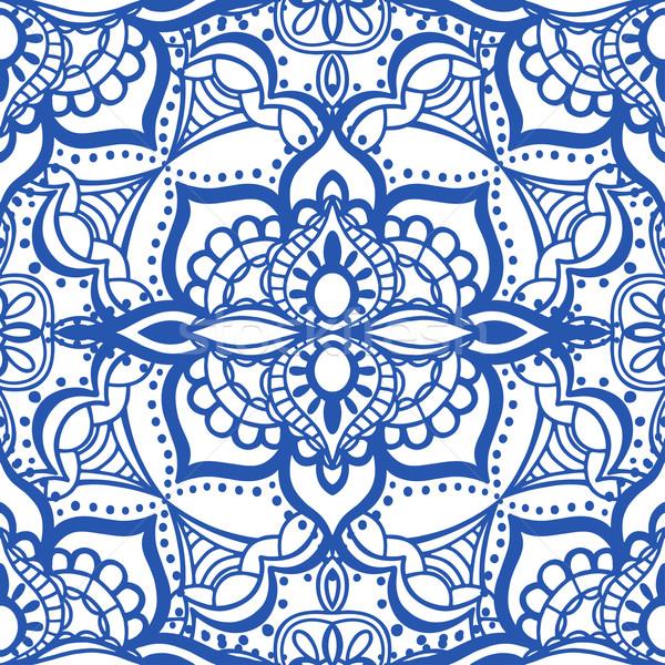 Sem costura azul padrão vetor isolado branco Foto stock © frescomovie