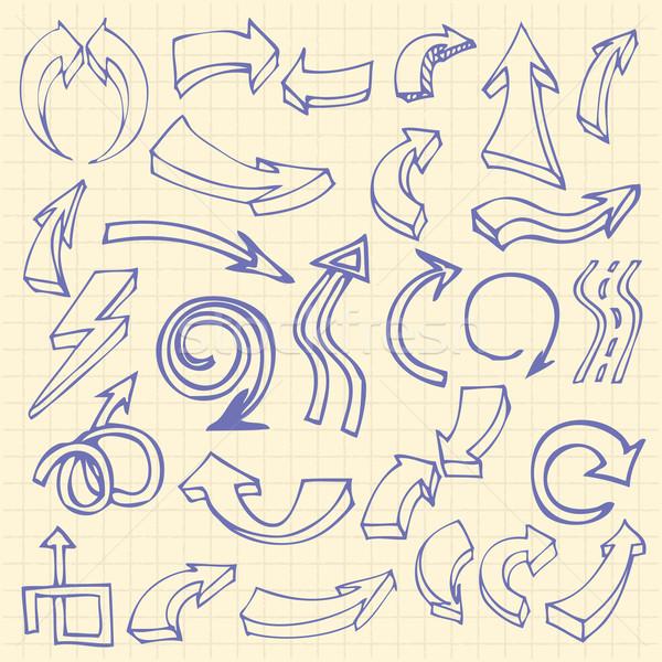 Kézzel rajzolt nyilak notebook oldal ikon szett firka Stock fotó © frescomovie