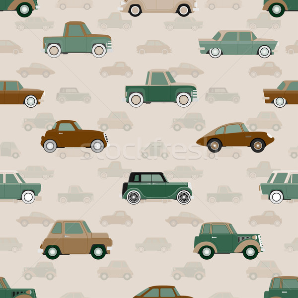 Stock photo: Seamless vector pattern with cars