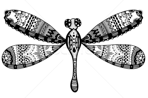 Zentangle stylized dragonfly Stock photo © frescomovie