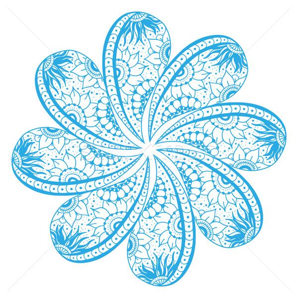 Díszítő csipke virág kék mandala dísz Stock fotó © frescomovie