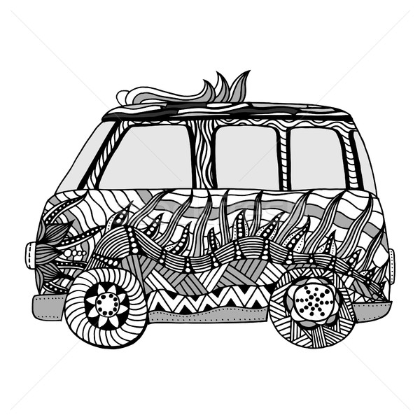 Mini van hippie rastrear boceto Foto stock © frescomovie