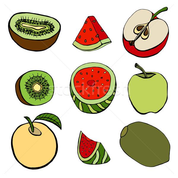 Ingesteld vruchten geïsoleerd gesneden voedsel hand Stockfoto © frescomovie
