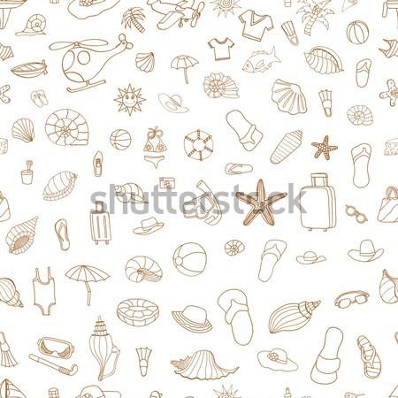смешные Игрушки для маленьких детей набор коричневый бесшовный вектора Сток-фото © frescomovie