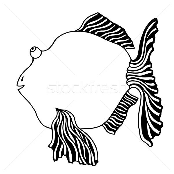 Cute vis cartoon lijn kunst afbeelding Stockfoto © frescomovie