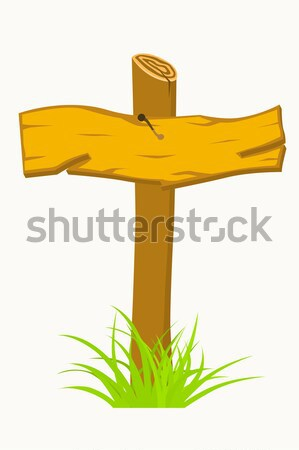Wooden sign boards on a grass.  Stock photo © frescomovie