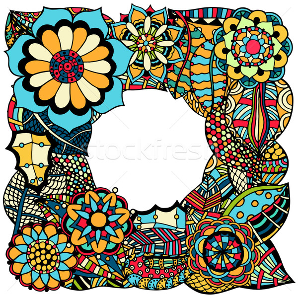 Ethnic floral zentangle Stock photo © frescomovie