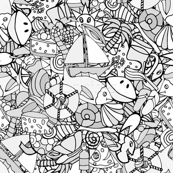 Verão padrão sem costura mão elementos Foto stock © frescomovie