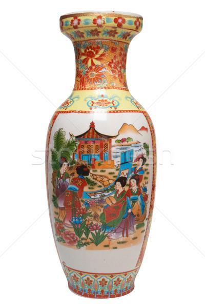 Váza antik japán izolált fehér vágási körvonal Stock fotó © frescomovie