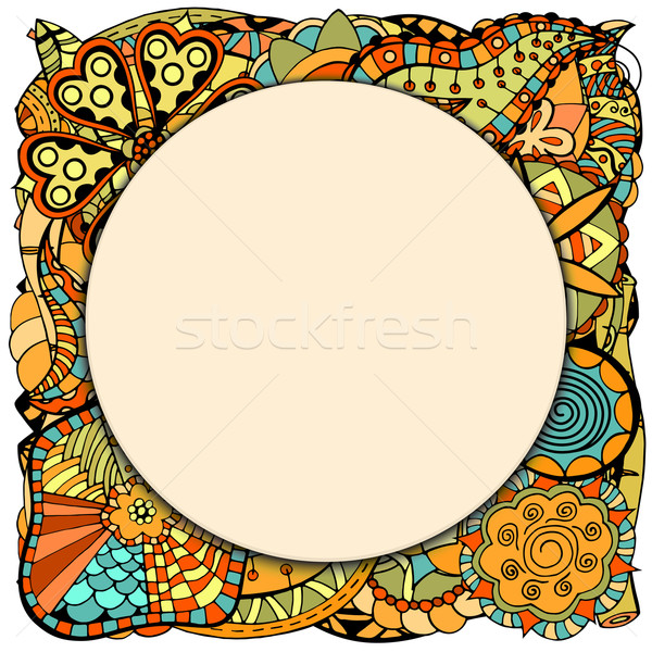 round papper frame on leaves and flower Stock photo © frescomovie