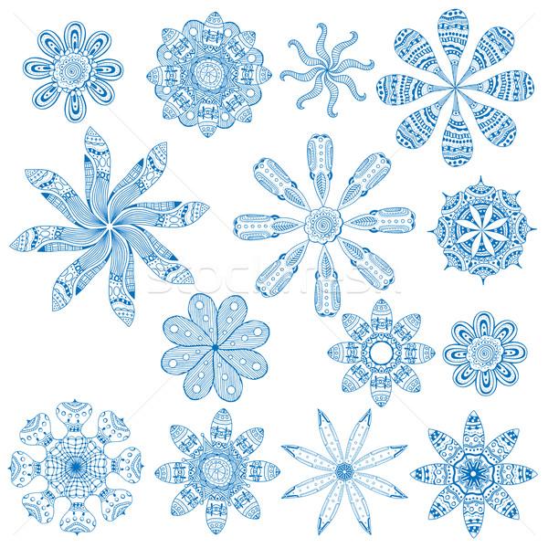 青 飾り セット 幾何学的な 抽象的な ストックフォト © frescomovie