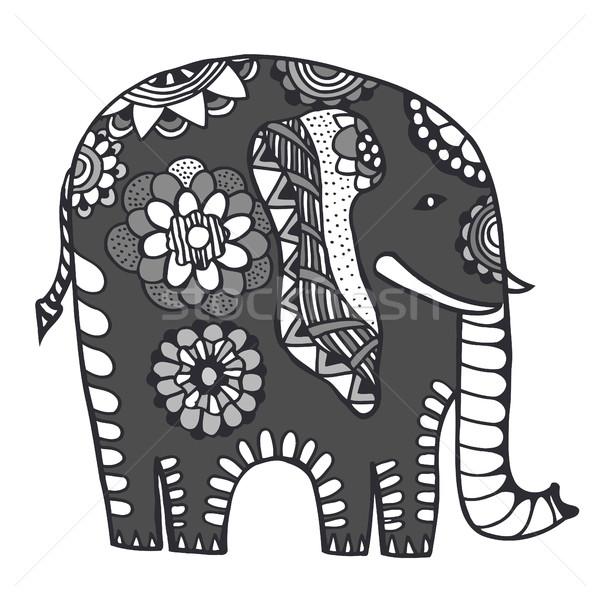 Kézzel rajzolt indiai elefánt firka törzsi dísz Stock fotó © frescomovie