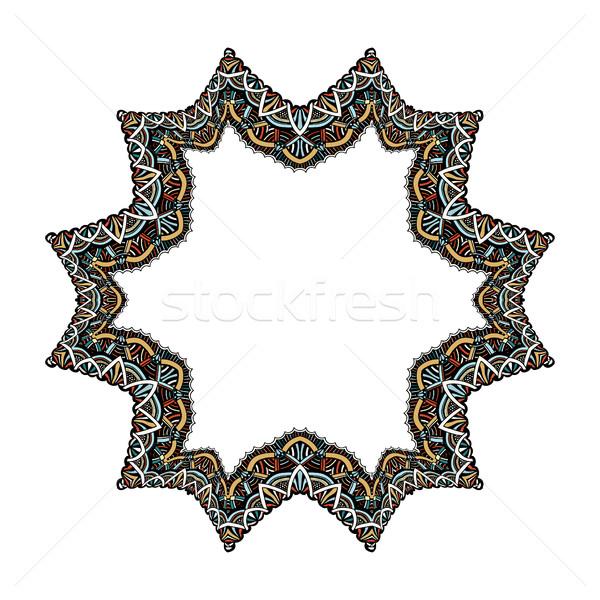 Set geometrischen Rahmen abstrakten Design Hand gezeichnet Stock foto © frescomovie