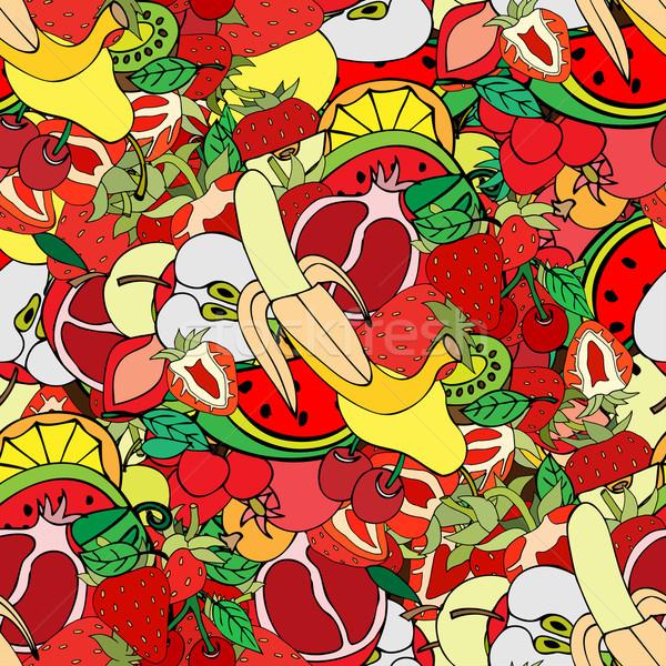 Meyve ayarlamak farklı yalıtılmış elma yaprak Stok fotoğraf © frescomovie