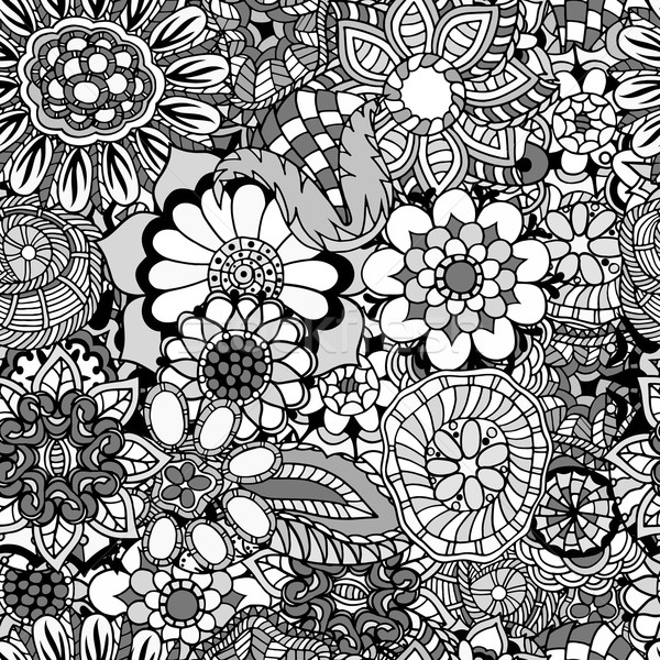 Floral rabisco padrão livro para colorir étnico retro Foto stock © frescomovie