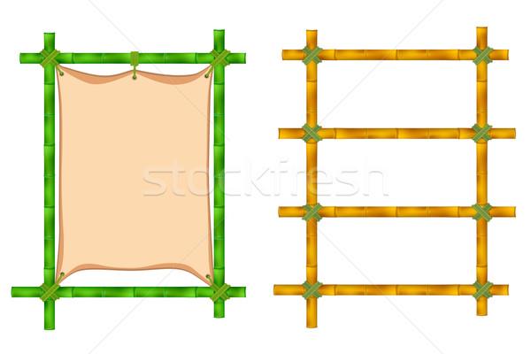 Bambu quadro conjunto moldura de madeira velho ilustração Foto stock © frescomovie