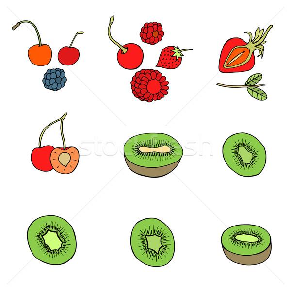 Ayarlamak farklı meyve karalama yalıtılmış beyaz Stok fotoğraf © frescomovie