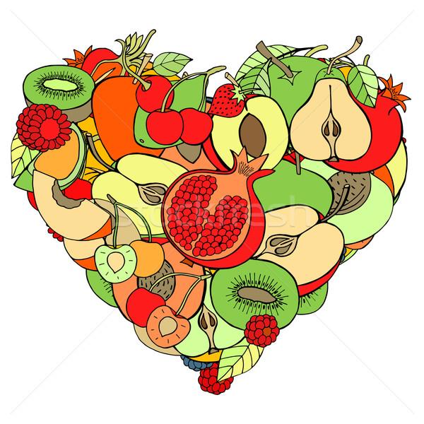 Hart gezonde vruchten bes eco schets Stockfoto © frescomovie