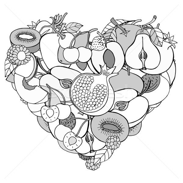 Heart from healthy fruit and berry Stock photo © frescomovie